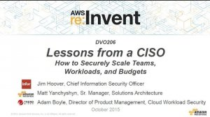 Embedded thumbnail for AWS re:Invent 2015 | (DVO206) How to Securely Scale Teams, Workloads, and Budgets Amazon Web Services  Amazon Web Services